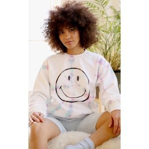 UO Day Smiley Tie Dye Pull Over Crew Neck Sweater